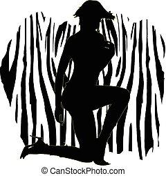 Ilustración sexual de la chica cebra