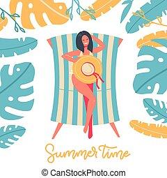 ilustración, sol, diseño, debajo, nature., verano, vector, ocio, leaves., árbol, vacaciones, mujer, palma, lounger, plano, recreación, playa, tiempo, bandera, pelado, sentado, vacaciones