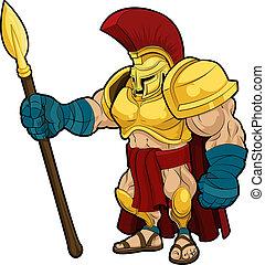 ilustración, spartan, gladiator