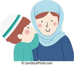 ilustración, susurro, niño, musulmán, niño, madre
