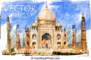 ilustración, taj, india, mahal, vector