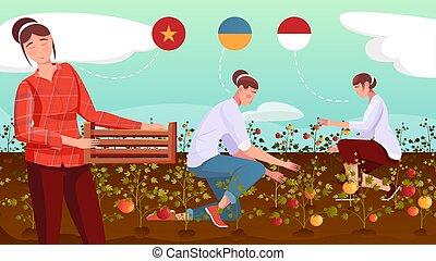 ilustración, trabajadores, migrant