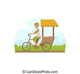 ilustración, tradicional, indio, taxi, rickshaw, triciclo, asiático, vector