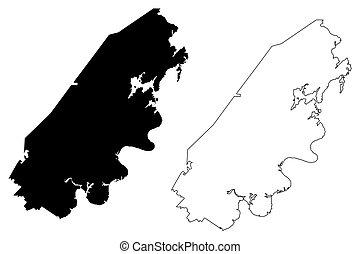 ilustración, u..s.., estado, tennessee, américa, unido, estados unidos de américa, condado, estados, mapa, vector, garabato, us), rhea, bosquejo, (u.s.