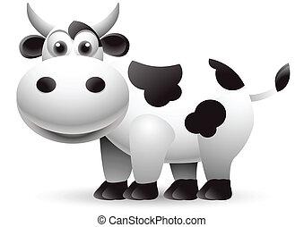 ilustración, vaca, caricatura