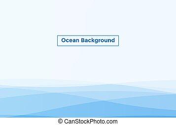ilustración, vector, aguas océano, fondo., onda, mar, azul