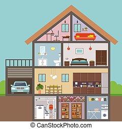 ilustración, vector, casa, cut., interior.