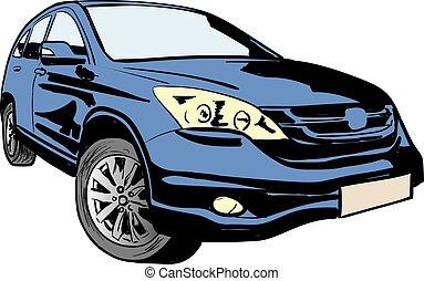 ilustración, vector, coche
