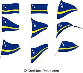 ilustración, vector, cura?ao, conjunto, bandera
