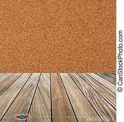 ilustración, vector, floor., corcho, madera, tabla