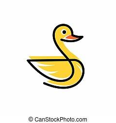 ilustración, vector, pato