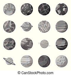 ilustración, vector, símbolo, símbolo., astronomía, galaxia, acción, web., universo, conjunto