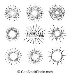ilustración, vector, sunburst, set.