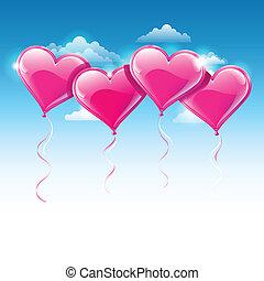 Ilustración vectora de globos con forma de corazón en un cielo azul