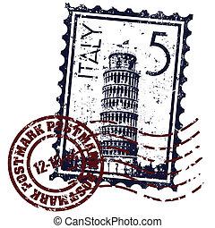 Ilustración vectora del icono único de sellos de Italia