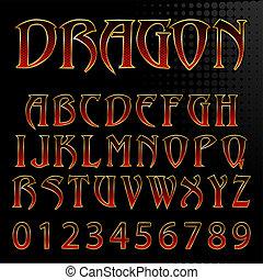 Ilustración vectorial abstracta de una fuente de estilo dragón