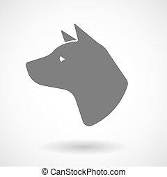 Ilustración vectorial aislada de una cabeza de perro