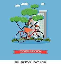 Ilustración vectorial de entrega de flores al estilo plano