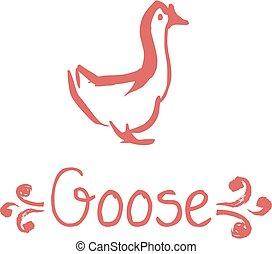 Ilustración vectorial de ganso. Esbozo dibujado a mano de pollo de cocina gourmet