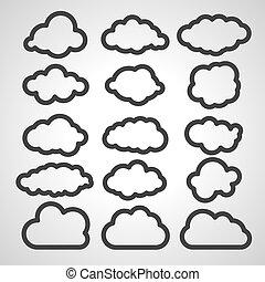 Ilustración vectorial de la colección de nubes negras