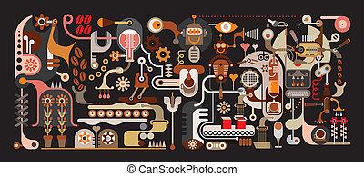 Ilustración vectorial de la fábrica de café