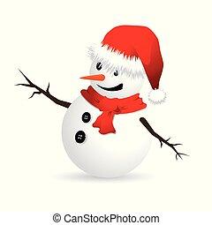 Ilustración vectorial de Snowman sobre fondo blanco.