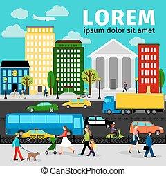 Ilustración vectorial de transporte de la ciudad. Carreteras y gente, autobuses, scooters