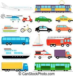 Ilustración vectorial de transporte urbano. Transporte de la ciudad