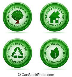 Ilustración vectorial de un conjunto de íconos ambientales verdes aislados en el fondo blanco