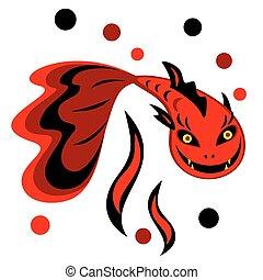 Ilustración vectorial de un demonio de pescado