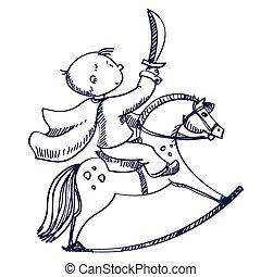 Ilustración vectorial de un niño a caballo