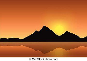 Ilustración vectorial de un paisaje de montaña reflejado en la superficie del mar bajo un cielo naranja con el sol naciente
