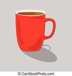 Ilustración vectorial de una taza roja de café