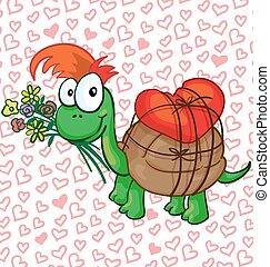 Ilustración vectorial de una tortuga enamorada de dibujos animados