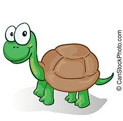 Ilustración vectorial de una tortuga sonriente de dibujos animados