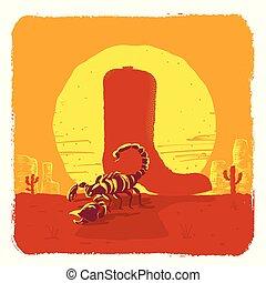 Ilustración vectorial del desierto americano de Texas con botas de vaquero y escorpión