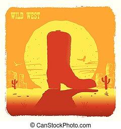Ilustración vectorial del desierto americano de Texas con botas de vaquero y sol
