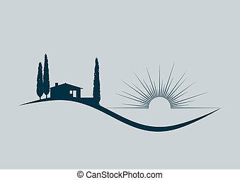 Ilustración vectorial estilizada con una casa de vacaciones junto al mar