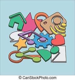 Ilustración vectorial trazada a mano de signos de redes sociales y símbolo de elementos de garabatos.