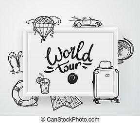 ilustración, viaje, vector, concept., mundo