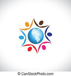 ilustración, vida, multi, paz, centro, gente, juntos, global, seres humanos, comunidad, gráfico, armonía, representa, mundo, icon., racial, unión