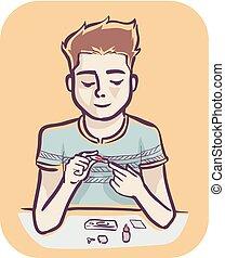 ilustración, vih, kit, hombre, prueba