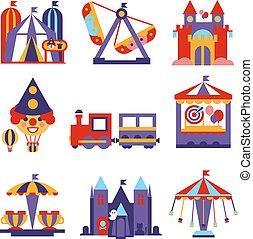 Ilustraciones de diseño del parque de diversiones