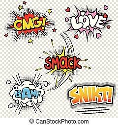Ilustraciones de vectores de efectos de sonido cómico