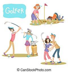 Ilustraciones de vectores de juegos de golf.