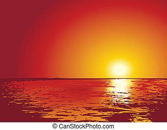 ilustraciones, ocaso, o, salida del sol, mar