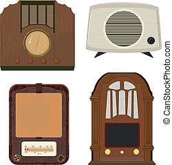 ilustraciones, radio, vector, viejo, colección