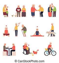 ilustraciones, situaciones, conjunto, grupo, mujeres, diferente, viejo, hombres, vector