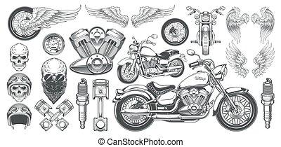 ilustraciones, vector, vendimia, alas, ángulos, iconos, conjunto, vario, cráneos, motocicleta