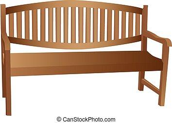 ilustrado, banco de madera